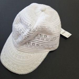 ffa48b4c9 NWT INC Women's Crochet Baseball Cap White Hat NWT